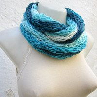 infinity scarf Finger Knitting Scarf -Blue Turquoise White-  Necklace scarf   Winter Accessories-chain loop scarf women scarf  mothers day