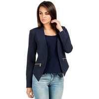 Classic Dark Blue Unique Collar Blazer Jacket LAVELIQ