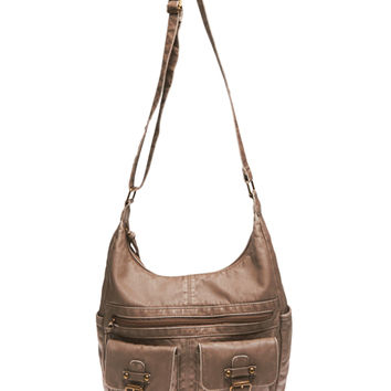 Slouchy Faux Leather Crossbody Bag | Wet Seal