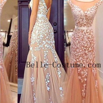 Prom Dresses 2016, Tulle Floor Length Champagne Prom Dress, Tulle Evening Gowns