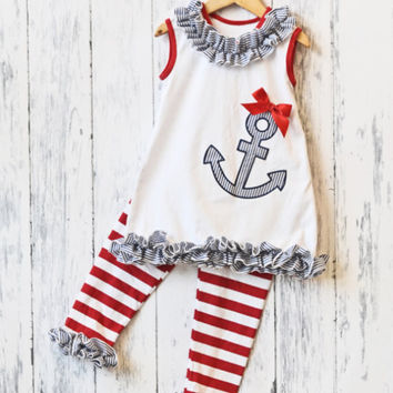 4th of July Outfit, OTT Bow and Bubblegum Necklace! Patriotic set, nautical anchor outfit