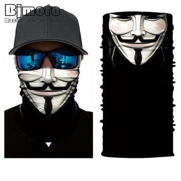 BJMOTO Cool Skull Magic Head Face Mask Multi Wear Tube Bandana Durag Biker Motorcycle Scarf
