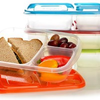 EasyLunchboxes 3-compartment Bento Lunch Box Containers (Set of 4) BPA-Free. Easy-Open Lids (Not Le