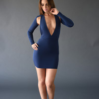 Deep-V Cutout Open Back Dress - Blue