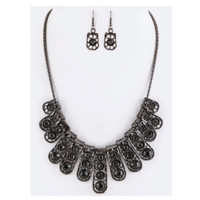 """""""Simply Beautiful"""" Crystal Bars Black Statement Necklace Set"""