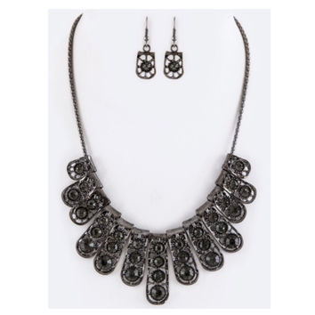 """Simply Beautiful"" Crystal Bars Black Statement Necklace Set"