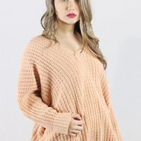 Peach V-Neck POL Sweater