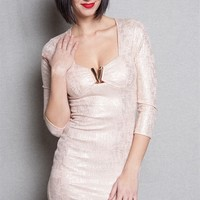 Privately Privileged Silver Sheen Bodycon Mini Dress With Gold Metal Peekaboo - Peach