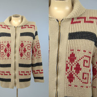 60s Pendleton LEBOWSKI Sweater Navajo Blanket Cowichan Shawl Collar Sweater L