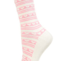 Heart And Stripe Ankle Socks - Tights & Socks  - Apparel