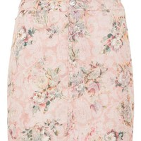 Floral Denim Skirt - Skirts - Clothing