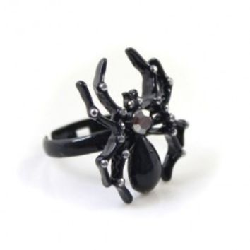 Black Slim Shank Ring with Diamanted Spider