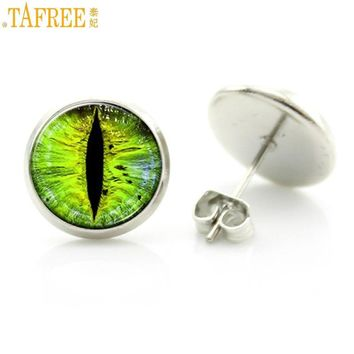 TAFREE bright color glass cabochon evil dragon eye stud earrings fashion jewelry trendy animal  eye picture women charms D638