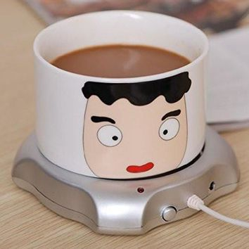 usb power suply coffee tea mug warmer heating cup mat pad coasters home office use silver  number 2