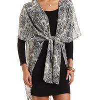 White Combo Tie Front Paisley Kimono by Charlotte Russe