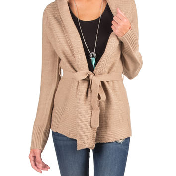 Knitted Cardigan with a Waist String - Taupe - Large