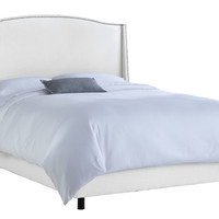 Cole Nail-Trim Wingback Bed, White, Wing Beds