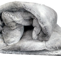 Tache Gray Plush Rabbit Faux Fur Throw Blanket