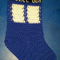 Blue Police Box The Doctor Christmas Stocking