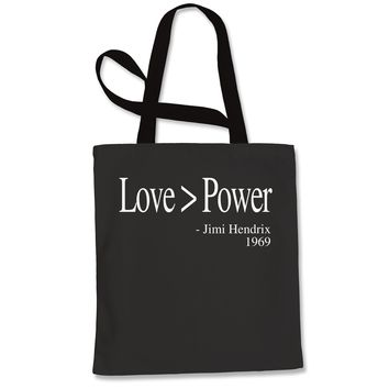 Love Is Greater Than Power Quote Shopping Tote Bag