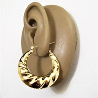 Monet Swirl Crimped Hoops Pierced Stud Earrings Gold Plated Vintage Large Round Graduated Open Dangle Band Surgical Steel Posts