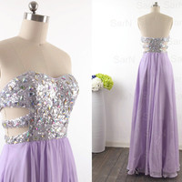 Lavender Long Prom Dresses, Custom Lilac Strapless Sequin and Chiffon  Long Formal Gown, Strapless Sweetheart Lavender Long Prom Gown