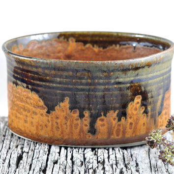 Ceramic Bowl Oval Brown Rustic - Stoneware Unique-  Handmade Pottery - Home Decor - Housewarming gift - by DeeDeeDeesigns