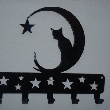 Cat and Moon Key Rack Wall decor Metal Art by Tibi291 on Etsy
