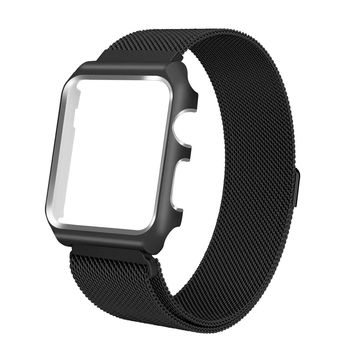 Compatible for Apple Watch Band with Case 38mm, Stainless Steel Mesh Milanese Loop with Adjustable Magnetic Closure Replacement Wristband iWatch Band for Apple Watch Series 3 2 1 - Black