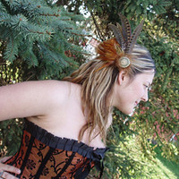 Steampunk Rust and Spotted Brown Feather Fascinator, Hair Clip or Hat Pin