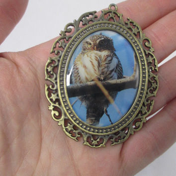 OWL Jumbo Art Frame Tibetan Style Alloy Resin Pendants  - lot of 2