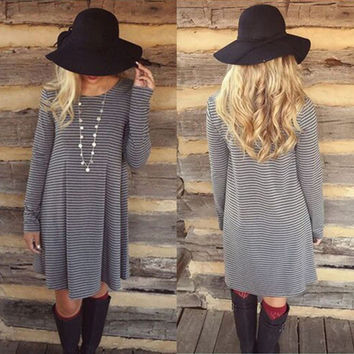 New Classic Stripe Pleated Round Neck Long Sleeve A-line Dress