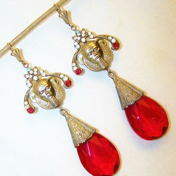Vintage Egyptian Revival Red Czech Glass Pharaoh Earrings Large Statement Egyptian Jewelry Art Deco Jewelry Art Nouveau Jewelry