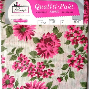 4 yards 60s Chintz Pink Flower Fabric - Pink Fuchsia Green Flowers - Floral Design Motif - 1960s Polished Glazed Cotton - Sewing Project Yd