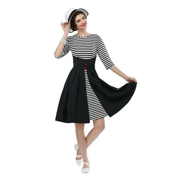 Stylish Round Collar Striped Sash Wasit A-Line Ball Gown Dress for Women