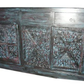 Antique Sideboard Media Console Buffet Distressed Blue Patina Tribal Carved Indian Furniture
