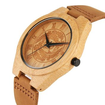 Unique Wooden Watch Classic Oriental Cranes with Clouds Dial Stylish Men Women Wristwatch Best Gift Clock