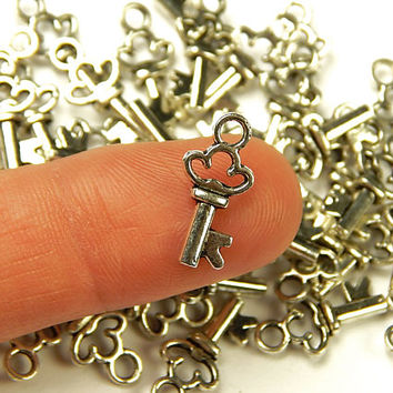 10 Pcs - 16x8mm Tiny Tibetan Silver Skeleton Key Charms - Tiny Charms - Jewelry Supplies