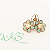 Rustic Elegance, Swarovski Flower Lever Back Earrings, 12mm, Shiny Bronze, Mint Green, Golden Shadow, DKSJewelrydesigns, FREE SHIPPING
