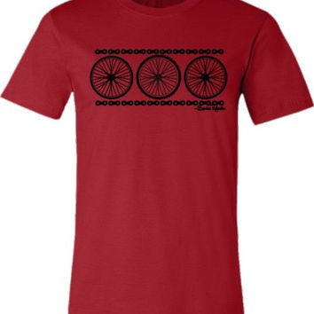 "Bicycle T-shirt ""Chain Reaction"" Road Bike and Mountain Bike Wheels in Red"