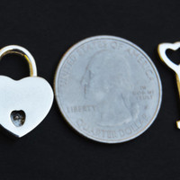 MICRO Hypoallergenic 925 Solid Sterling Silver Functional Working Heart Padlock Lock & 925 Key BDSM Slave Sub Pet Smallest Lock in the World