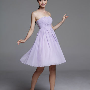 Light Purple Wedding dress/Silk Chiffon party dress/ bridesmaid dress/Prom/ handmade/ knee length formal dress - NC520