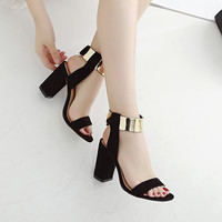 Fashion sandals  Women party block heel bling golden Ankle Strap shoes buckle