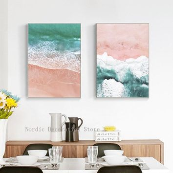 Pink Seascapes Beach Landscapes Canvas Art Posters And Prints Wall Art Canvas Painting Wall Pictures For Living Room Unframed