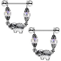 Boheme Elephant Dangle Nipple Ring Set Created with Swarovski Crystals