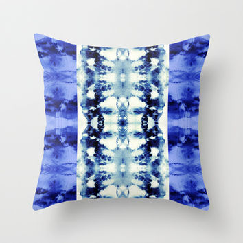 Tie Dye Blues Throw Pillow by Nina May