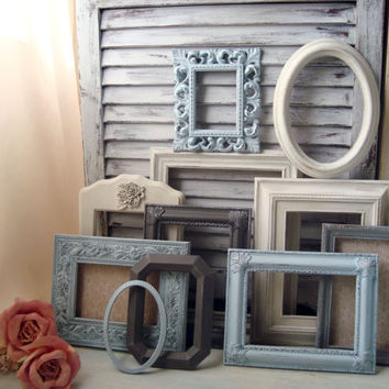 Beach Cottage Light Blue, Antique White and Gray Painted Frames, Shabby Chic Coastal Set of 11 Ornate Frames, UpCycled Vintage Frame Gallery