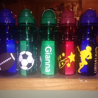 Personalized Kid's Sports Party Water Bottle: Lacrosse Football Soccer Gymnastics