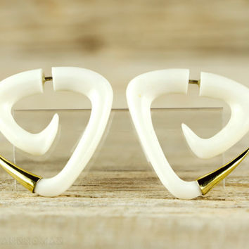 Fake Gauge Earrings Spiral Earrings Triangle Tribal Style Gauges Bone Organic - FG076B YB G1