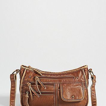 faux leather crossbody bag with four front pockets in cognac | maurices